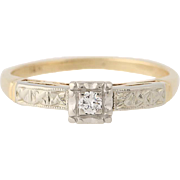 Vintage Diamond Engagement Ring - 14k Yellow Gold Solitaire Round Cut