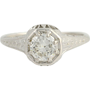Art Deco Diamond Engagement Ring - 18k White Gold European Cut Solitaire .72ctw