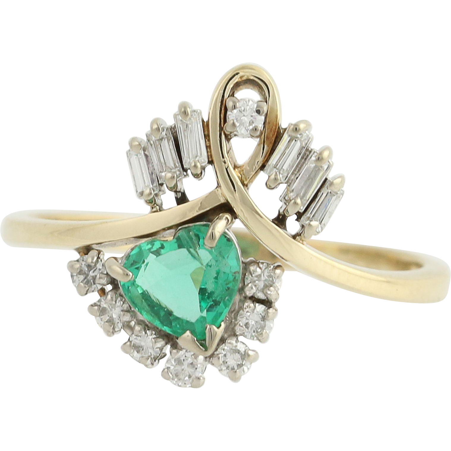 Synthetic Emerald & Diamond Ring - 14k Yellow & White Gold May 1.00ctw