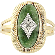 Vintage Nephrite Jade Ring - 10k Yellow Gold Diamond Accent Size 5