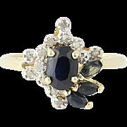 Sapphire & Diamond Ring - 10k Yellow Gold Marquise & Oval Brilliant 1.07ctw