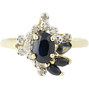 Sapphire & Diamond Ring - 10k Yellow Gold Marquise & Oval Brilliant 1.07ctw