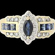 Sapphire & Diamond Halo Ring - 14k Yellow Gold Marquise Cut 1.58ctw