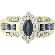 Sapphire & Diamond Halo Ring - 14k Yellow Gold Marquise Cut 1.58ctw