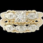 Vintage Diamond Engagement Ring & Wedding Band - 14k Gold Round Brilliant Cut