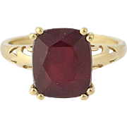 Ruby Solitaire Ring - 10k Gold Lead Glass Filled Cushion Brilliant Cut 7.50ct