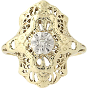 Vintage Diamond-Accented Ring - 10k Yellow Gold Filigree Size 5 1/2