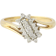 Diamond Cluster Bypass Ring - 10k Yellow Gold Round Brilliant Cut .29ctw