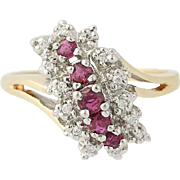 Ruby & Diamond Tiered Bypass Ring - 10k Yellow & White Gold .42ctw