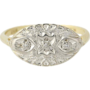Diamond-Accented Vintage Ring - 10k Yellow & White Gold Milgrain