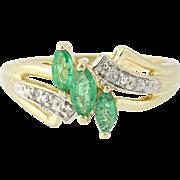 Emerald & Diamond Bypass Ring - 10k Yellow Gold Three-Stone w/ Accents .51ctw