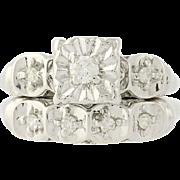Vintage Diamond Engagement Ring & Wedding Band - 14k White Gold .20ctw