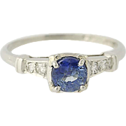 Vintage Sapphire & Diamond Engagement Ring - 900 Platinum Round Cut .72ctw