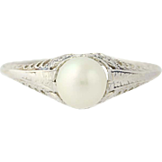 Art Deco Cultured Pearl Ring - 14k White Gold Vintage Floral Filigree 6 1/2