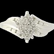 Diamond Cluster Bypass Ring - 10k White Gold 8 1/4 Women's .12ctw