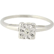 Vintage Engagement Ring - 14k White Gold Promise Ring Solitaire Size 6 3/4