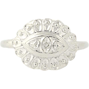 Diamond-Accented Vintage Ring - 10k White Gold Scallop Design Size 6 1/4