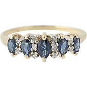 Sapphire & Diamond Ring - 10k Yellow Gold Marquise Brilliant Cut .57ctw