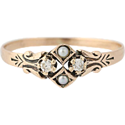 Victorian Diamond & Seed Pearl Ring - 10k Yellow Gold Antique Size 5 1/2