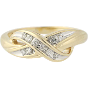 Diamond Crossover Ring - 10k Yellow Gold Size 7 Women's .10ctw