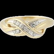 Diamond Crossover Ring - 10k Yellow Gold Size 7 Women's .10ctw