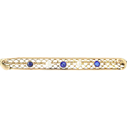 Vintage Brooch - 10k Gold Synthetic Sapphire, Glass, Seed Pearls Pin
