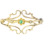 Vintage Simulated Emerald & Pearl Brooch - 10k Yellow Gold Pin