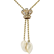 "Victorian Crown Necklace 15 3/4"" - 14k Yellow Gold Diamonds & Pearls Antique"