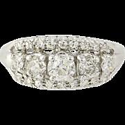 Retro Diamond Ring - 14k White Gold Old European Cut Vintage 1.26ctw