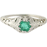 Art Deco Emerald Solitaire Ring -18k White Gold Vintage Filigree Round Cut .68ct