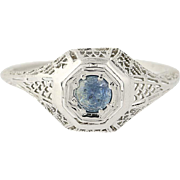 Art Deco Montana Sapphire Ring - 18k White Gold Vintage Round Cut .37ct