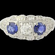 Art Deco Diamond & Sapphire Ring - 900 Platinum Vintage Old European Cut 1.31ctw