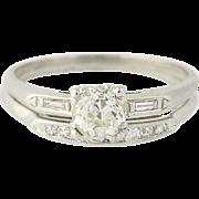 Art Deco Diamond Engagement Ring & Wedding Band - 900 Platinum Mine Cut .95ctw