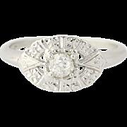 Art Deco Diamond Ring - 14k White Gold Vintage Mine Cut Solitaire .26ct