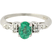 Art Deco Emerald & Diamond Ring - 900 Platinum Women's Vintage .91ctw