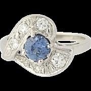 Art Deco Sapphire & Diamond Ring - 14k White Gold Diamond Cut Solitaire 1.22ctw