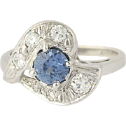 Art Deco Sapphire & Diamond Ring - 14k White Gold Diamond Cut Solitaire 1.22ctw