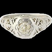 Art Deco Diamond Engagement Ring - 18k White Gold Vintage Mine Cut .37ct