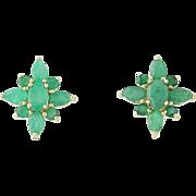Emerald Cluster Earrings - 10k Yellow Gold Stud Style Pierced 3.28ctw