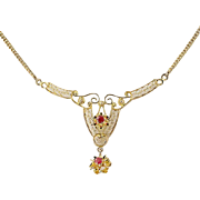 "Vintage Lavaliere Necklace 15 1/2"" - 14k Yellow Gold Garnet & Glass Doublets"