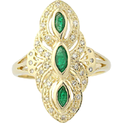 Emerald & Diamond Ring - 14k Yellow Gold Marquise Brilliant Cut .41ctw