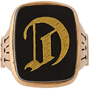 Victorian Initial D Signet Ring - 10k Yellow Gold Onyx Size 10 Men's Antique