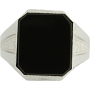 Art Deco Onyx Ring - 10k White Gold Vintage Ostby & Barton
