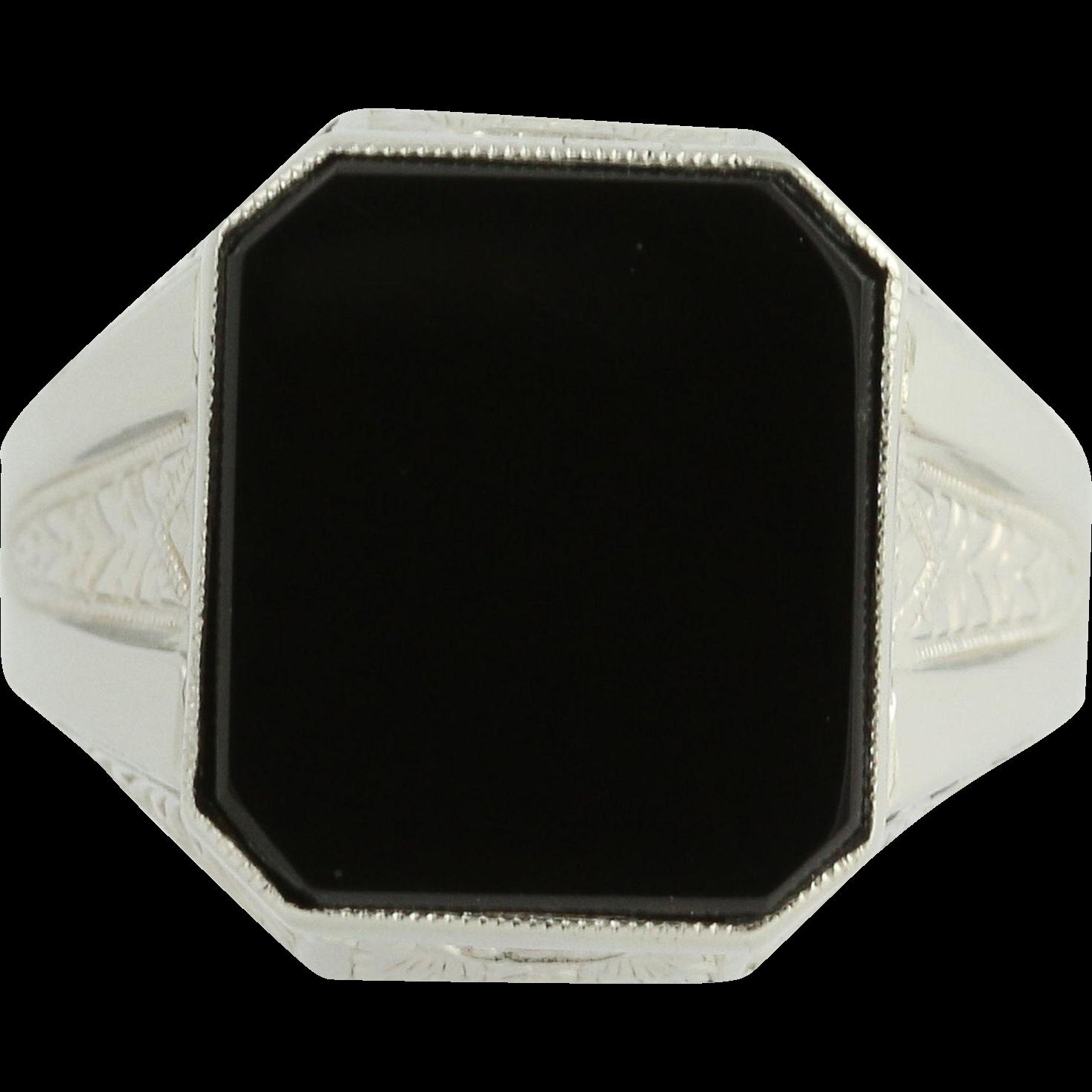 Art Deco Onyx Ring - 10k White Gold Vintage Ostby & Barton