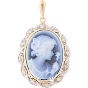 Agate Cameo Pendant - 14k Yellow Gold Diamond Accented .12ctw