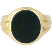 Antique Bloodstone Ring - 18k Yellow Gold Circa 1886 - 1887 Men's Size 8 3/4