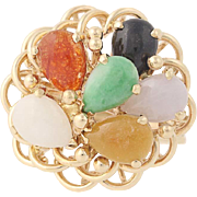 Jadeite & Onyx Cluster Ring - 14k Yellow Gold Cabochon Cut Women's Size 6 1/4