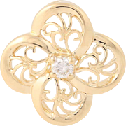 Flower Blossom Pendant - 14k Yellow Gold Diamond Solitaire Accent Women's Gift