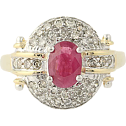 Ruby & Diamond Ring - 14k Yellow Gold Oval Brilliant Cut 1.40ctw