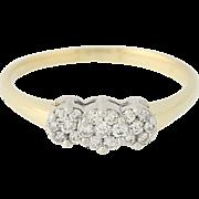 Diamond Engagement Ring -14k Gold Clusters Illusion Three-Stone Round Cut .33ctw